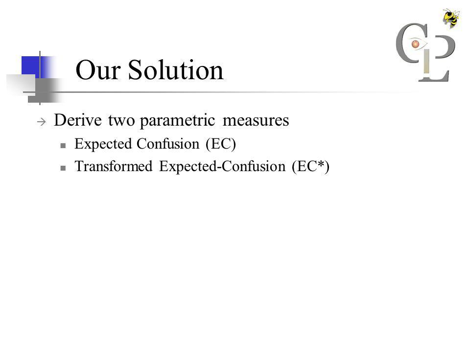 Our Solution Derive two parametric measures Expected Confusion (EC) Transformed Expected-Confusion (EC*)