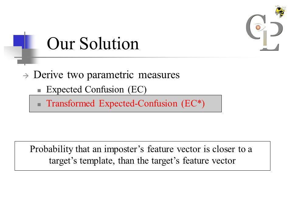 Our Solution Derive two parametric measures Expected Confusion (EC) Transformed Expected-Confusion (EC*) Probability that an imposters feature vector is closer to a targets template, than the targets feature vector