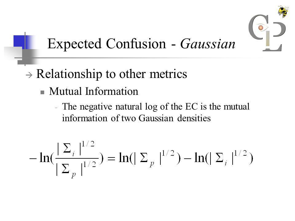 Expected Confusion - Gaussian Relationship to other metrics Mutual Information The negative natural log of the EC is the mutual information of two Gaussian densities