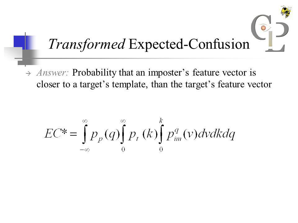 Transformed Expected-Confusion Answer: Probability that an imposters feature vector is closer to a targets template, than the targets feature vector