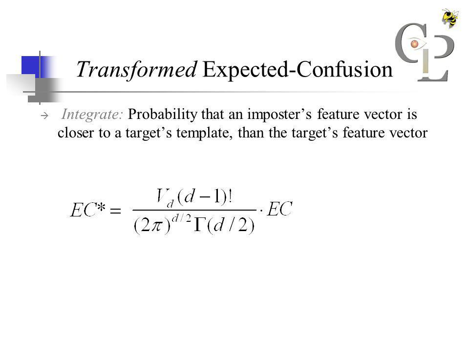 Transformed Expected-Confusion Integrate: Probability that an imposters feature vector is closer to a targets template, than the targets feature vector