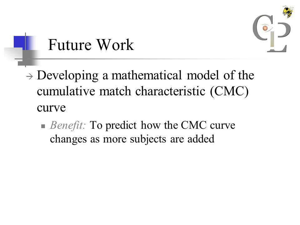 Future Work Developing a mathematical model of the cumulative match characteristic (CMC) curve Benefit: To predict how the CMC curve changes as more subjects are added