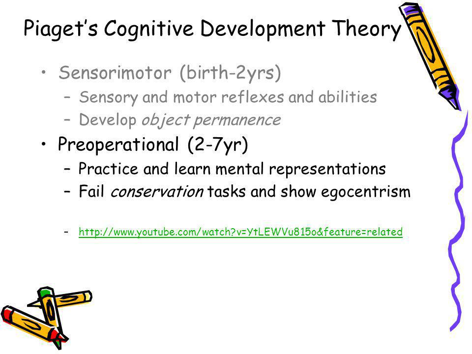 Piagets Cognitive Development Theory Sensorimotor (birth-2yrs) –Sensory and motor reflexes and abilities –Develop object permanence Preoperational (2-7yr) –Practice and learn mental representations –Fail conservation tasks and show egocentrism –http://www.youtube.com/watch?v=YtLEWVu815o&feature=relatedhttp://www.youtube.com/watch?v=YtLEWVu815o&feature=related