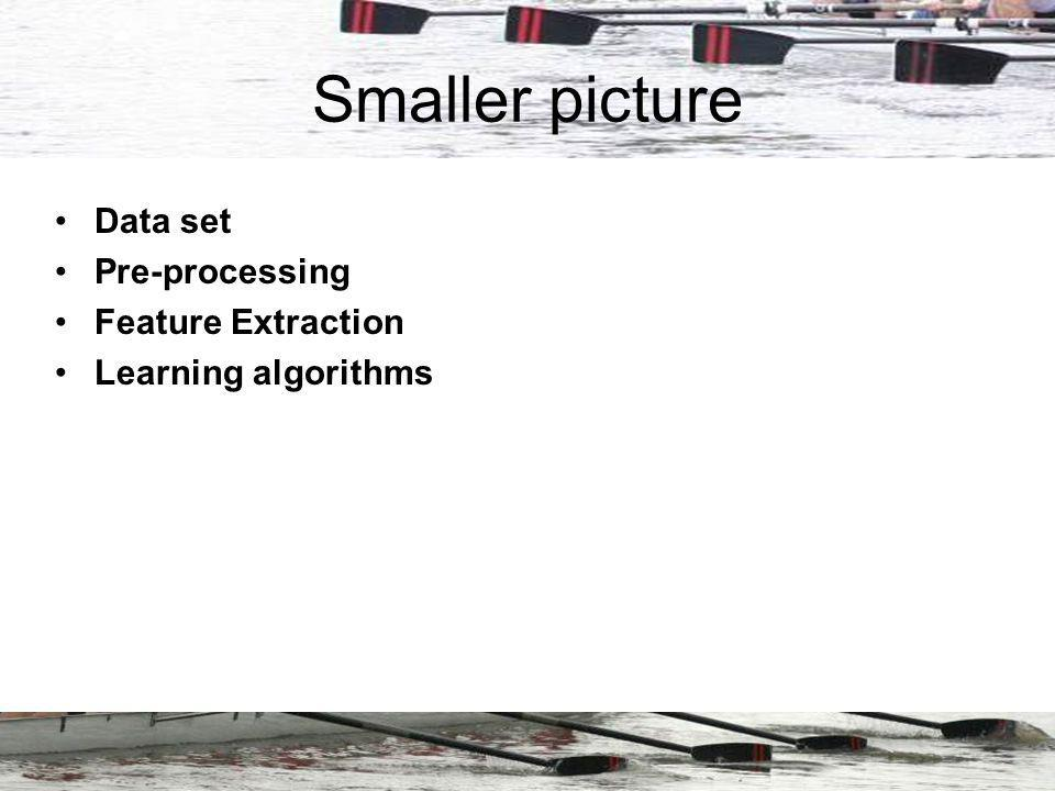 Smaller picture Data set Pre-processing Feature Extraction Learning algorithms
