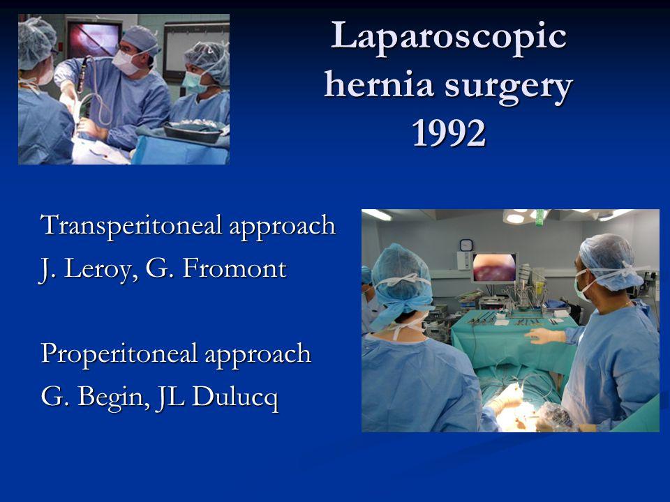 Laparoscopic hernia surgery 1992 Transperitoneal approach J. Leroy, G. Fromont Properitoneal approach G. Begin, JL Dulucq