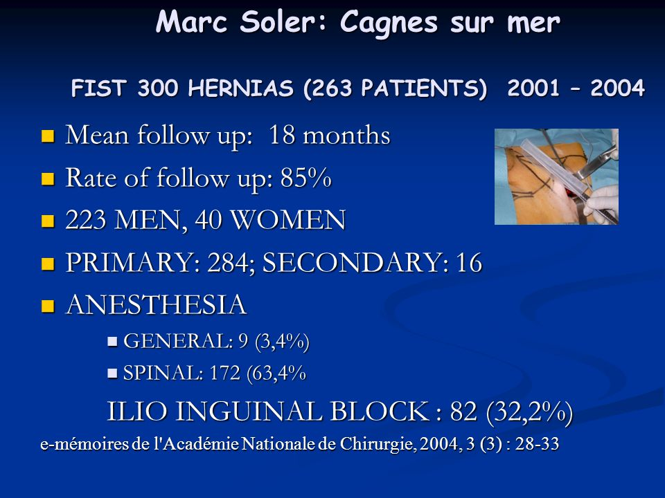 Marc Soler: Cagnes sur mer FIST 300 HERNIAS (263 PATIENTS) 2001 – 2004 Mean follow up: 18 months Mean follow up: 18 months Rate of follow up: 85% Rate