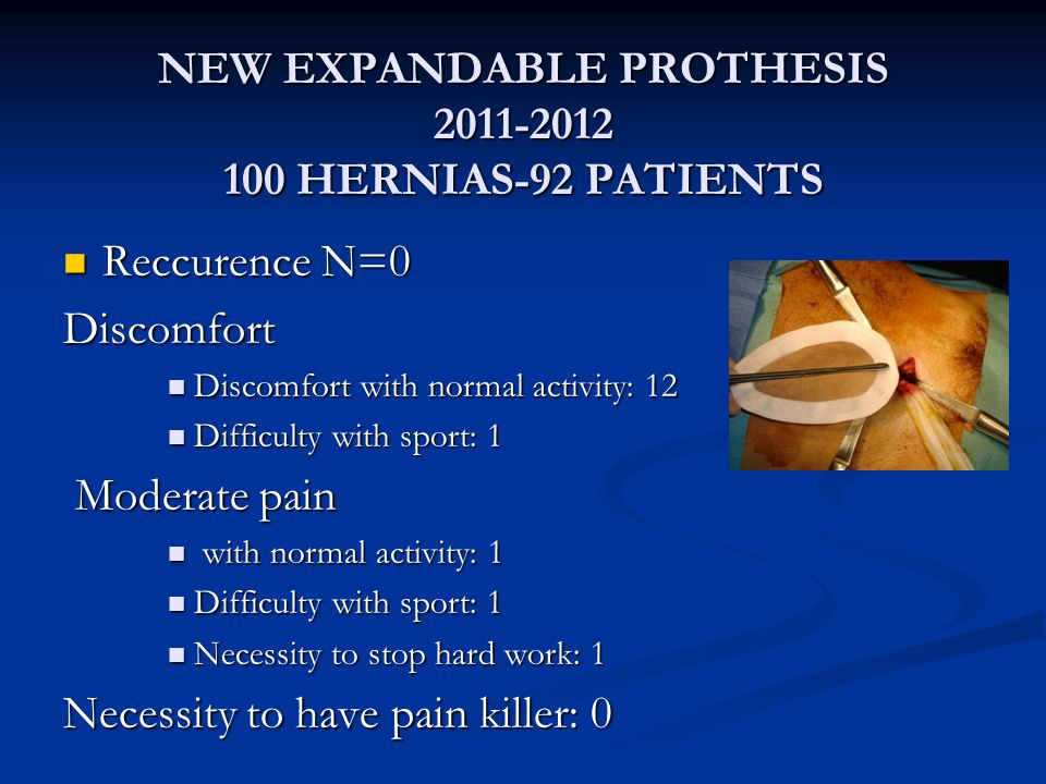 NEW EXPANDABLE PROTHESIS 2011-2012 100 HERNIAS-92 PATIENTS Reccurence N=0 Reccurence N=0Discomfort Discomfort with normal activity: 12 Discomfort with