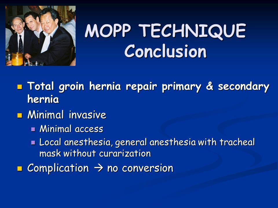 MOPP TECHNIQUE Conclusion Total groin hernia repair primary & secondary hernia Total groin hernia repair primary & secondary hernia Minimal invasive M