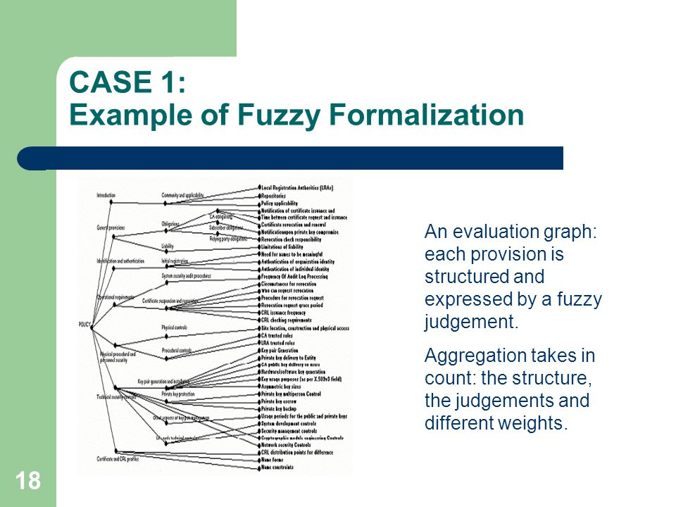18 CASE 1: Example of Fuzzy Formalization An evaluation graph: each provision is structured and expressed by a fuzzy judgement.