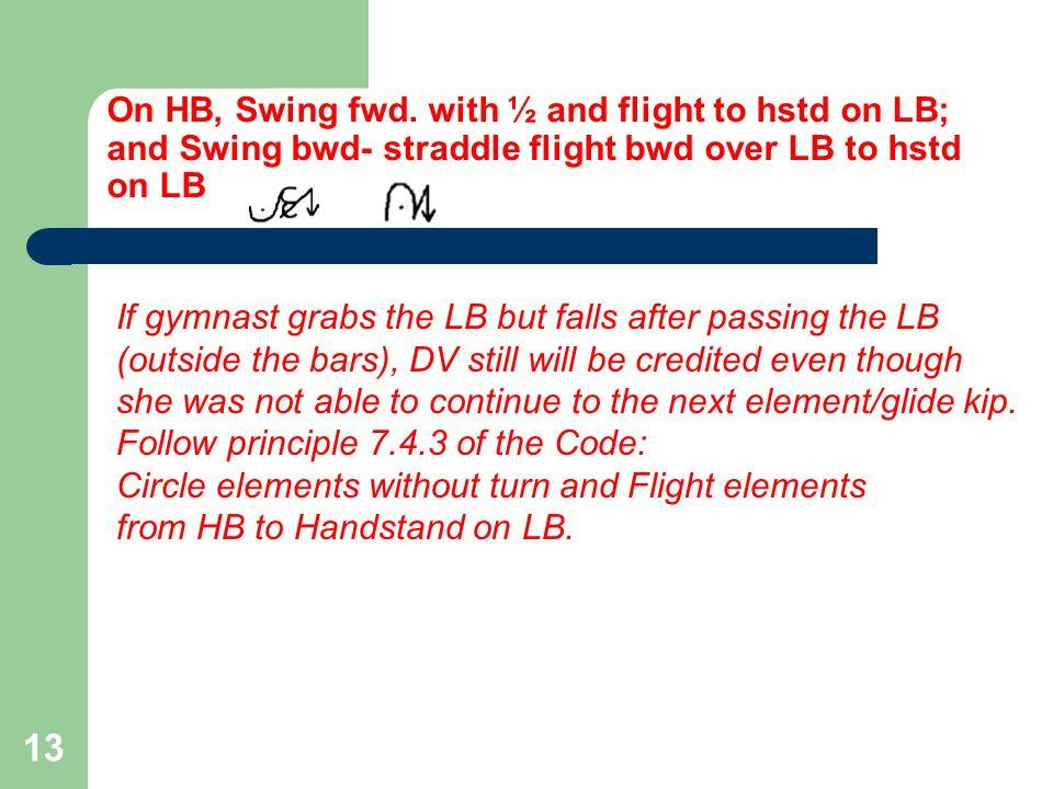 On HB, Swing fwd.