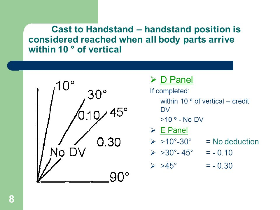 8 Cast to Handstand – handstand position is considered reached when all body parts arrive within 10 ° of vertical D Panel If completed: within 10 º of vertical – credit DV >10 º - No DV E Panel >10°-30° = No deduction >30°- 45° = - 0.10 >45° = - 0.30
