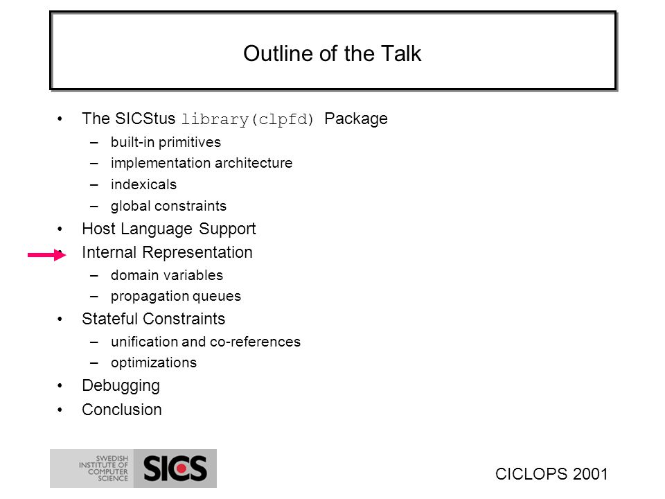 CICLOPS 2001 Outline of the Talk The SICStus library(clpfd) Package –built-in primitives –implementation architecture –indexicals –global constraints Host Language Support Internal Representation –domain variables –propagation queues Stateful Constraints –unification and co-references –optimizations Debugging Conclusion