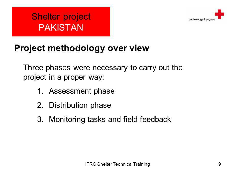 IFRC Shelter Technical Training9 Shelter project PAKISTAN Project methodology over view Three phases were necessary to carry out the project in a proper way: 1.Assessment phase 2.Distribution phase 3.Monitoring tasks and field feedback