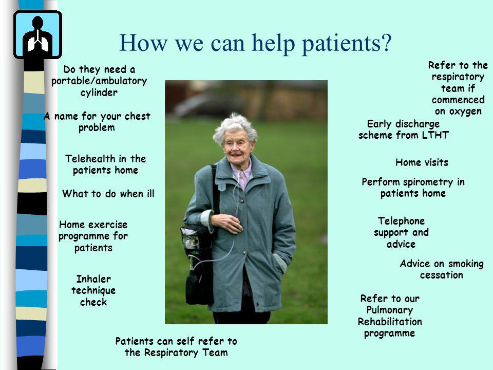 How we can help patients? Home visits Perform spirometry in patients home Advice on smoking cessation Inhaler technique check Telehealth in the patien