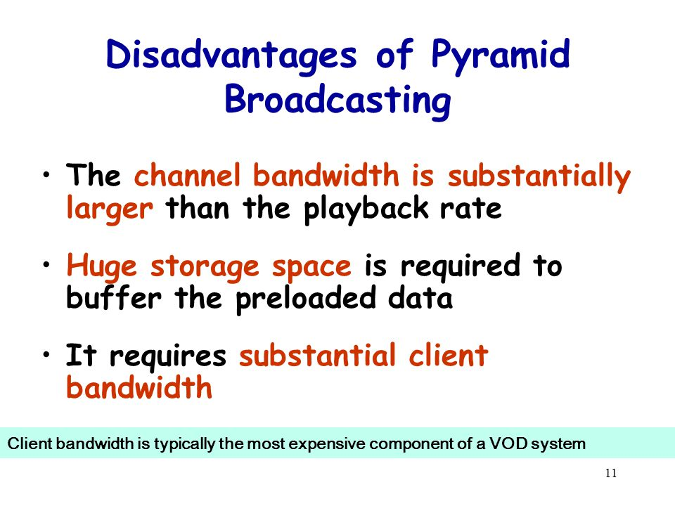 11 Disadvantages of Pyramid Broadcasting The channel bandwidth is substantially larger than the playback rate Huge storage space is required to buffer the preloaded data It requires substantial client bandwidth Client bandwidth is typically the most expensive component of a VOD system