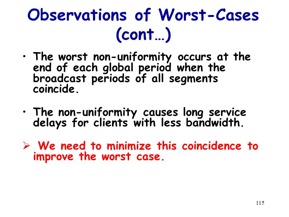 115 Observations of Worst-Cases (cont…) The worst non-uniformity occurs at the end of each global period when the broadcast periods of all segments coincide.