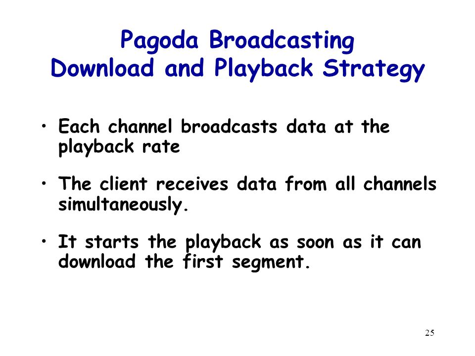 25 Pagoda Broadcasting Download and Playback Strategy Each channel broadcasts data at the playback rate The client receives data from all channels simultaneously.