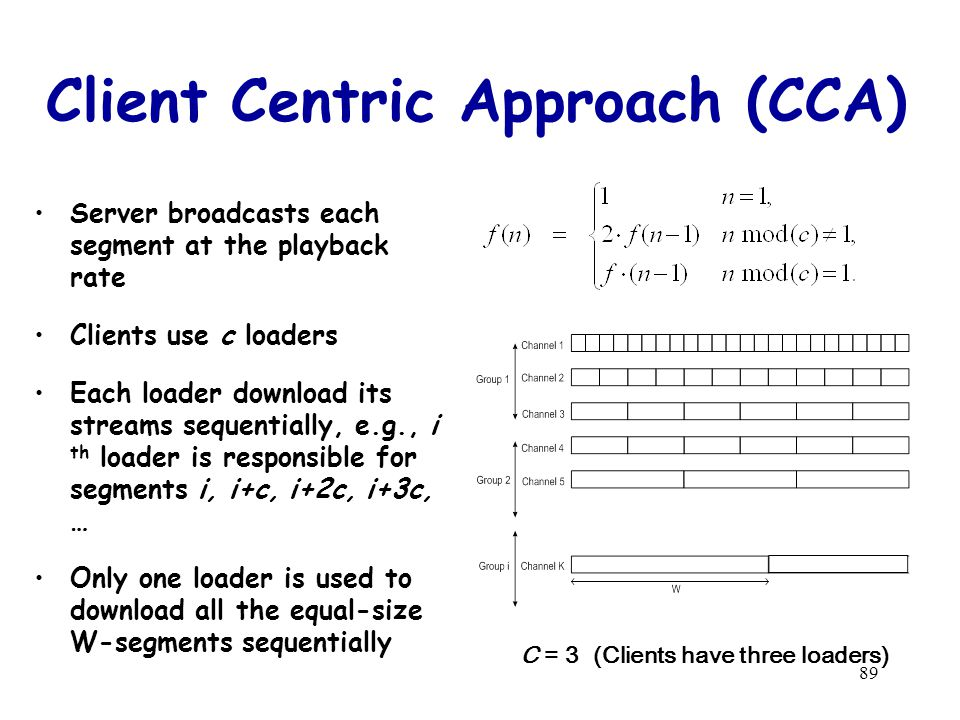 89 Client Centric Approach (CCA) Server broadcasts each segment at the playback rate Clients use c loaders Each loader download its streams sequentially, e.g., i th loader is responsible for segments i, i+c, i+2c, i+3c, … Only one loader is used to download all the equal-size W-segments sequentially C = 3 (Clients have three loaders)