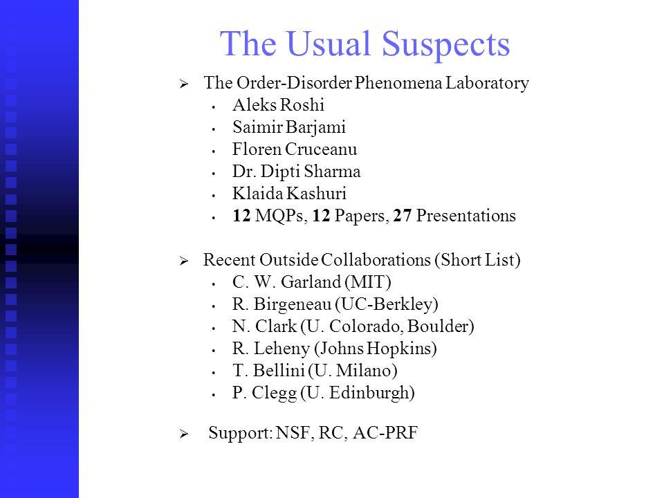 The Order-Disorder Phenomena Lab (Soft) Condensed Matter: Interdisciplinary.