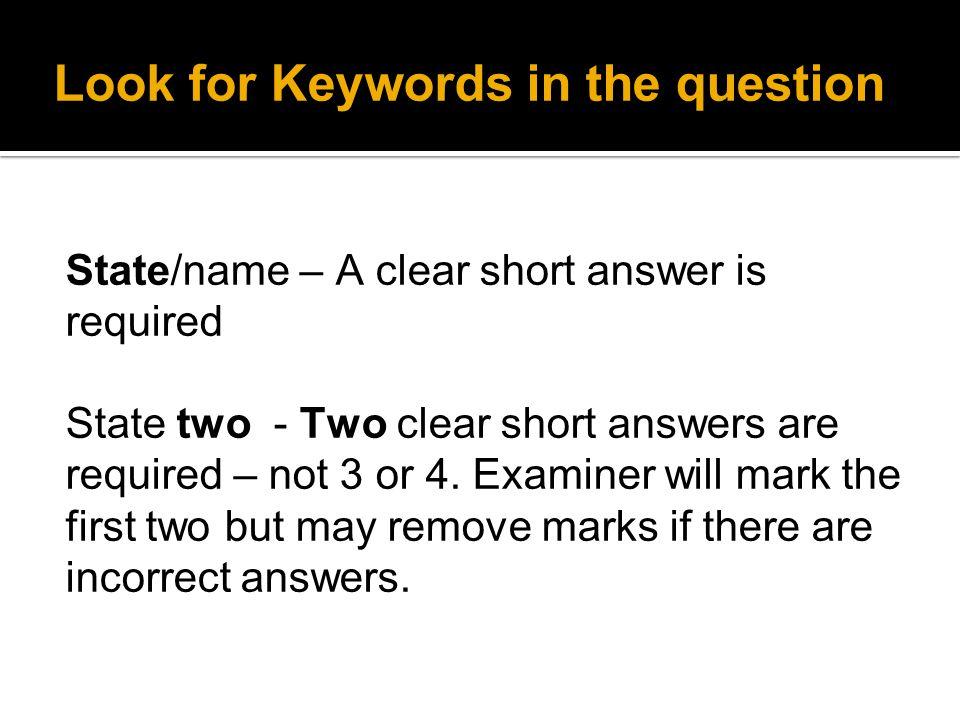 Describe and Explain Describe – Write down the information in the correct order.