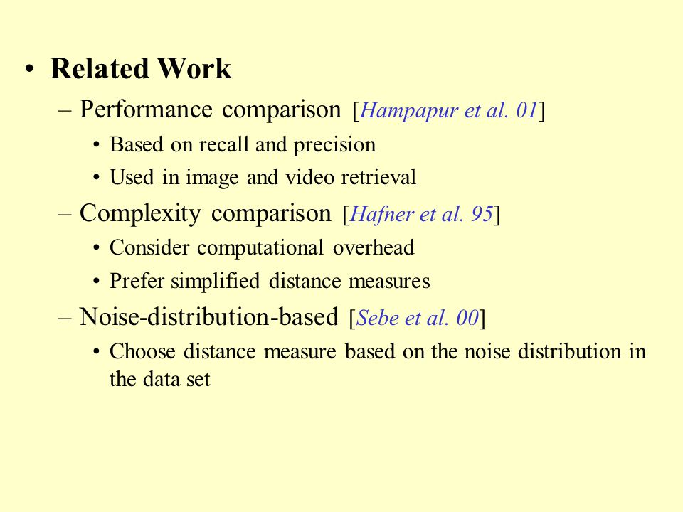 Related Work –Performance comparison [Hampapur et al.