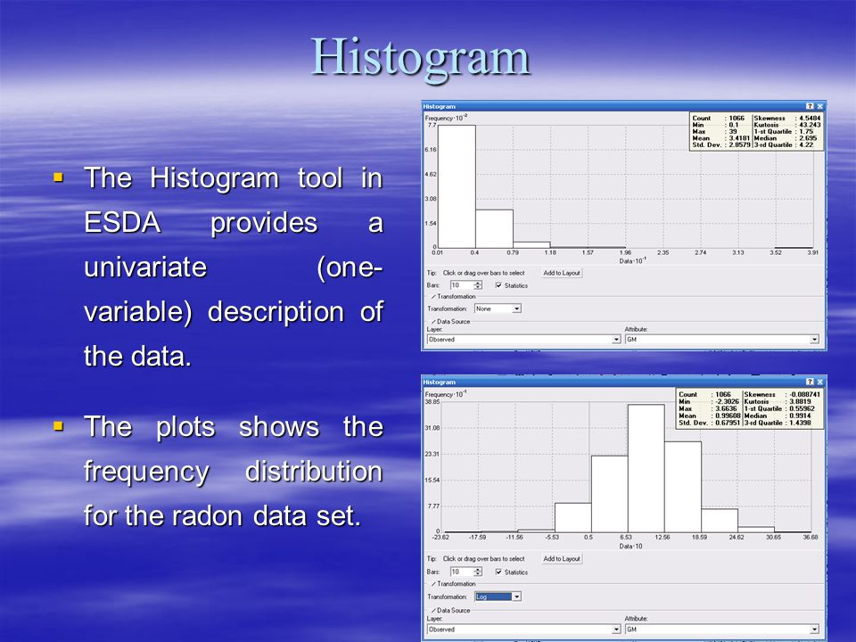 Histogram The Histogram tool in ESDA provides a univariate (one- variable) description of the data.