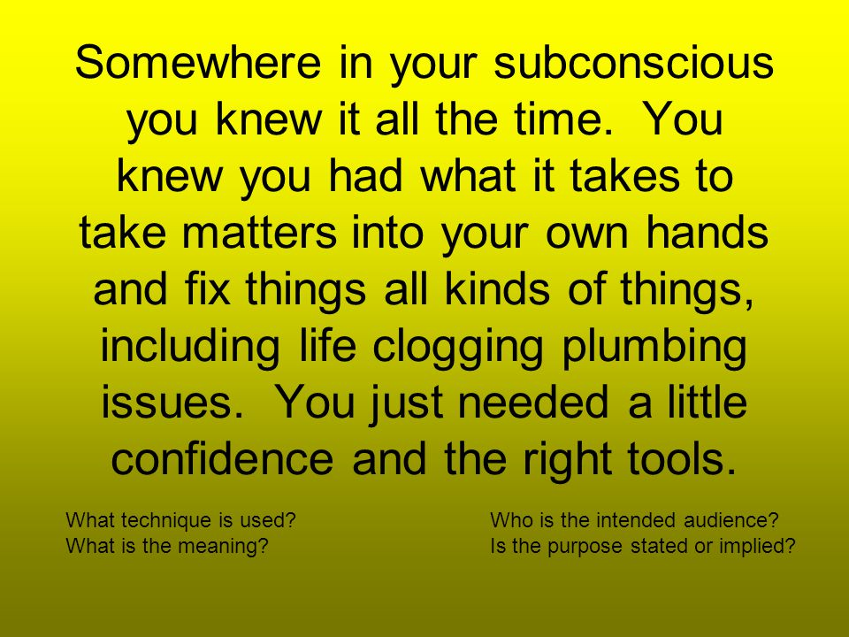 Somewhere in your subconscious you knew it all the time.