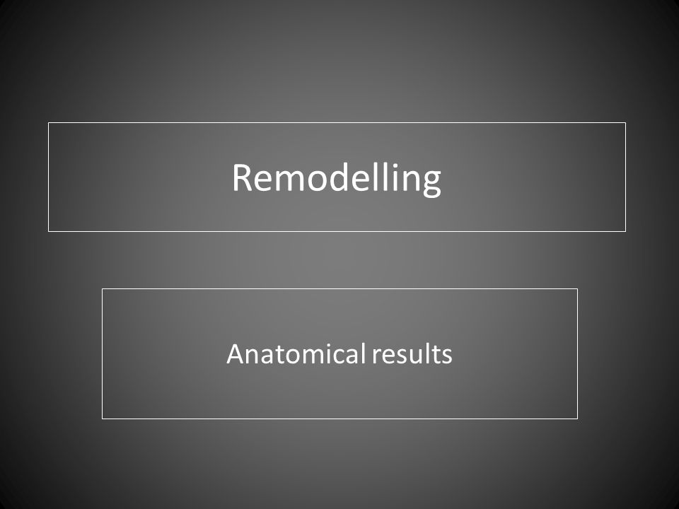 Remodelling Anatomical results