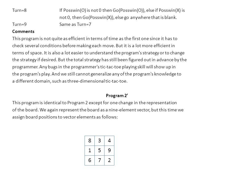 Turn=8If Posswin(O) is not 0 then Go(Posswin(O)), else if Posswin(X) is not 0, then Go(Posswin(X)), else go anywhere that is blank. Turn=9Same as Turn