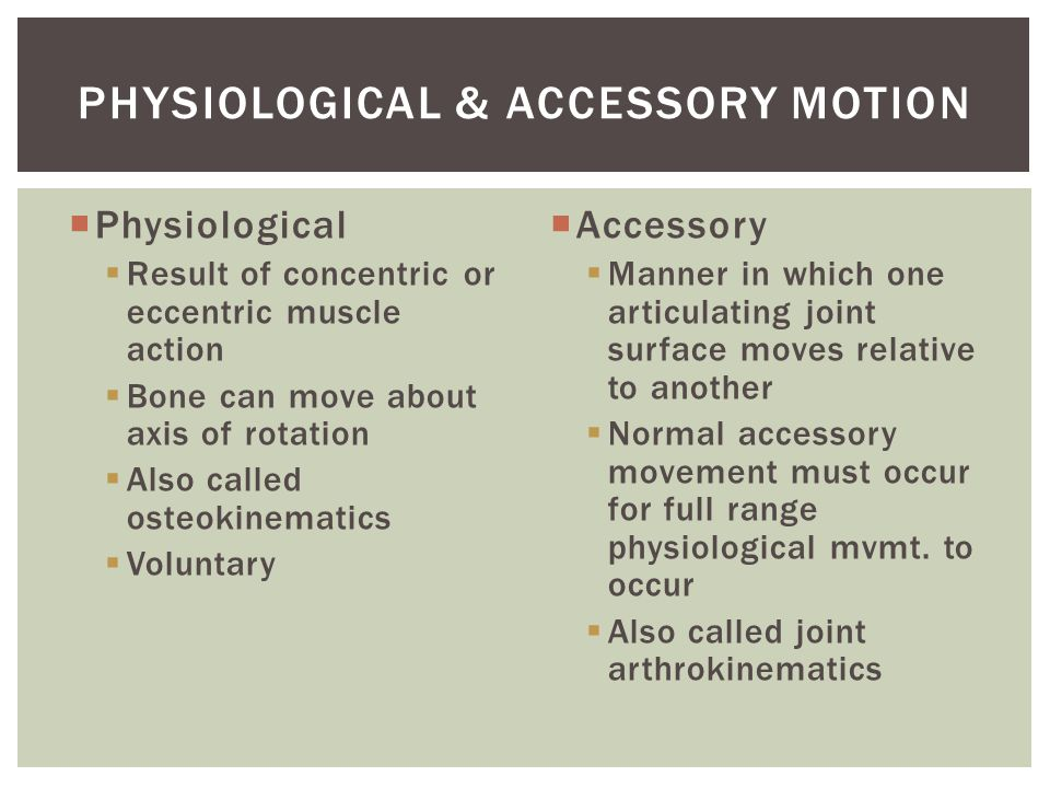 Physiological Result of concentric or eccentric muscle action Bone can move about axis of rotation Also called osteokinematics Voluntary Accessory Manner in which one articulating joint surface moves relative to another Normal accessory movement must occur for full range physiological mvmt.