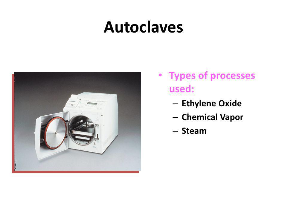 Autoclaves Types of processes used: – Ethylene Oxide – Chemical Vapor – Steam