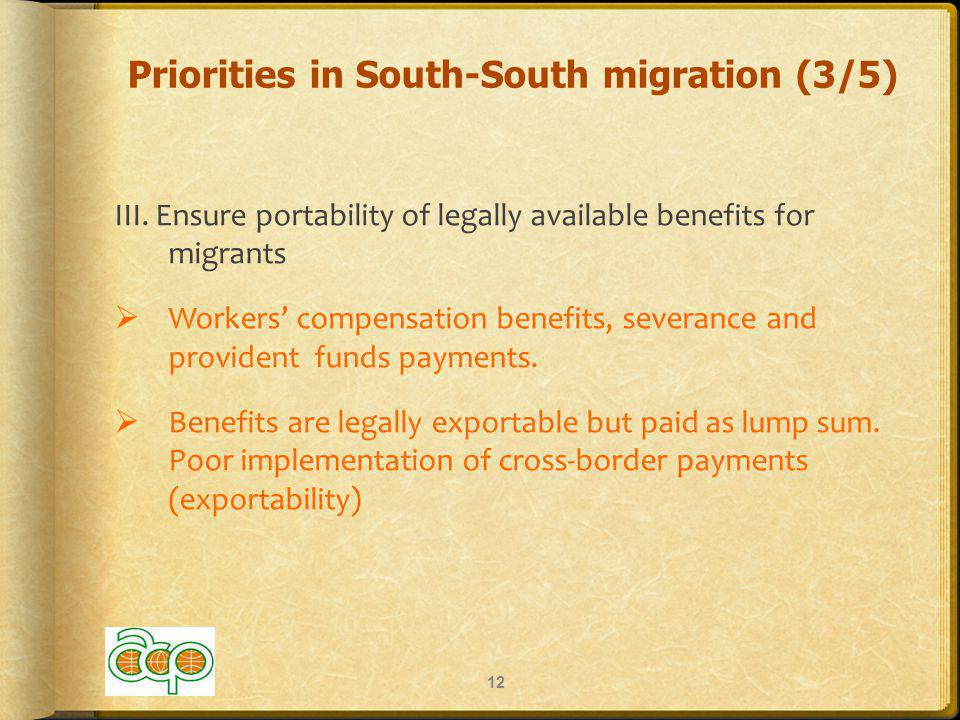 Priorities in South-South migration (3/5) III.