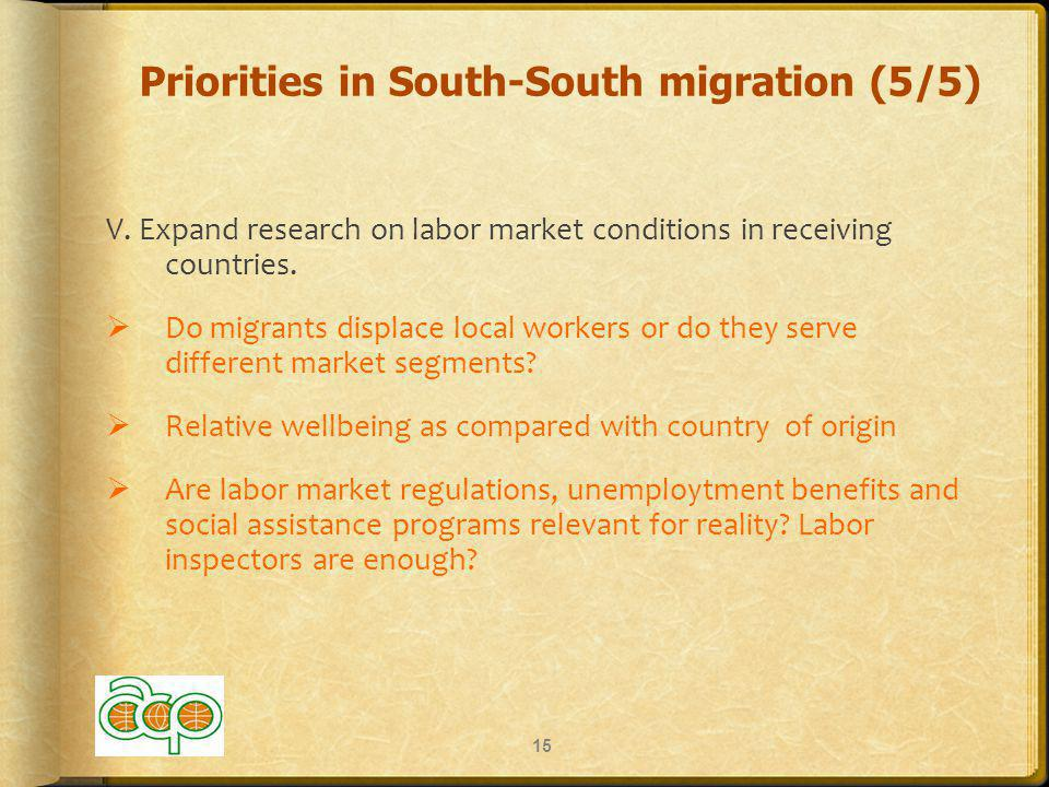 Priorities in South-South migration (5/5) V.