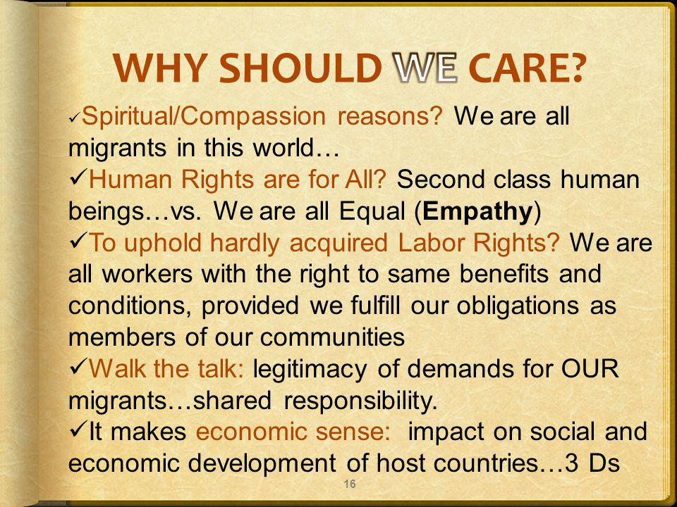16 Spiritual/Compassion reasons. We are all migrants in this world… Human Rights are for All.