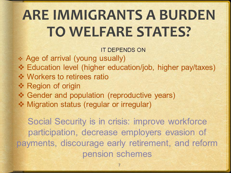 ARE IMMIGRANTS A BURDEN TO WELFARE STATES.