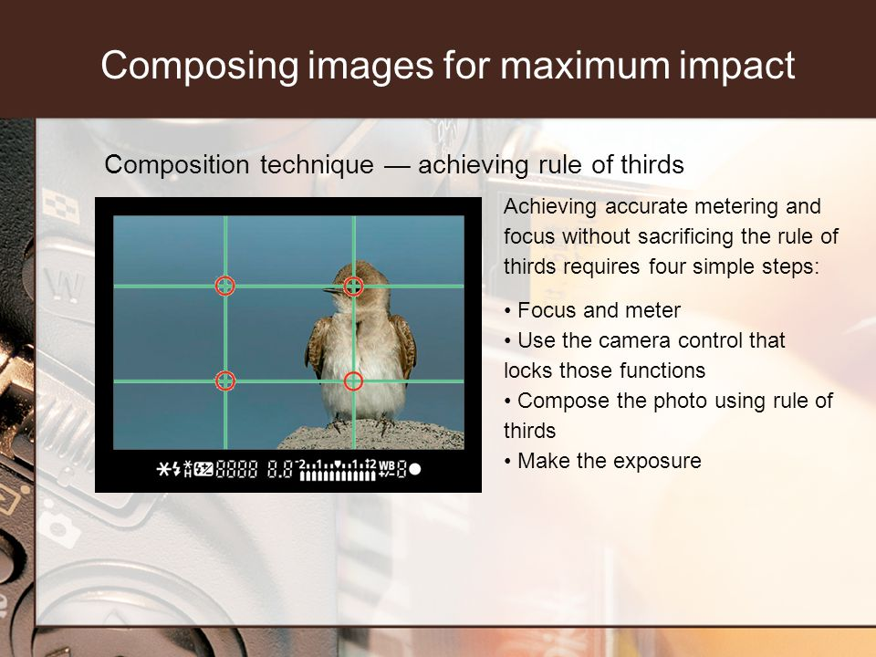 Composition technique achieving rule of thirds Achieving accurate metering and focus without sacrificing the rule of thirds requires four simple steps