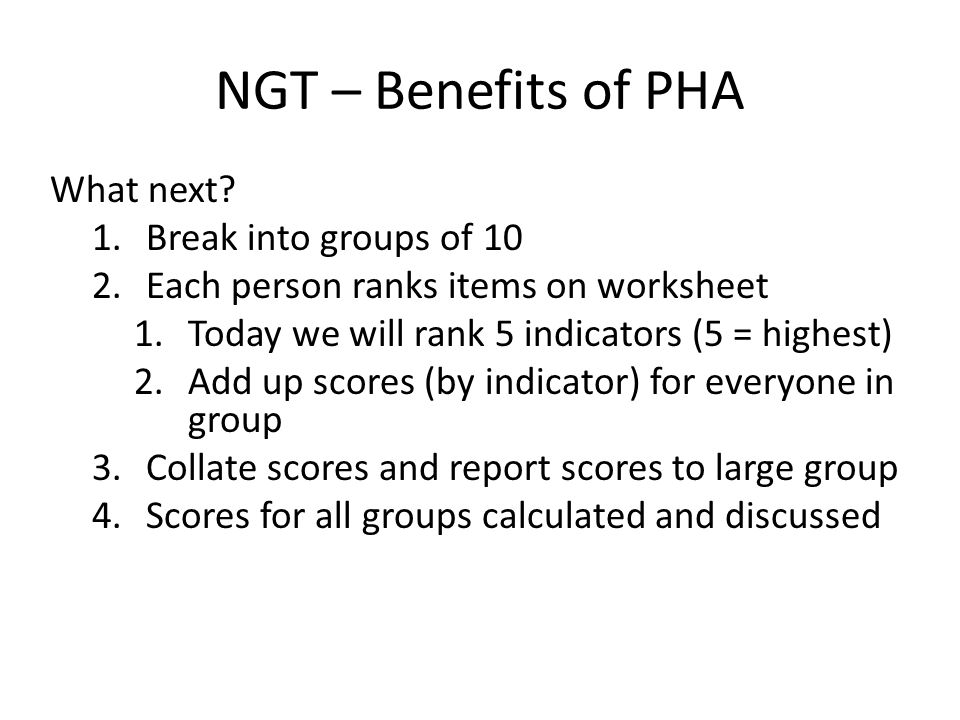 Benefits of PHA: What to do with this information.