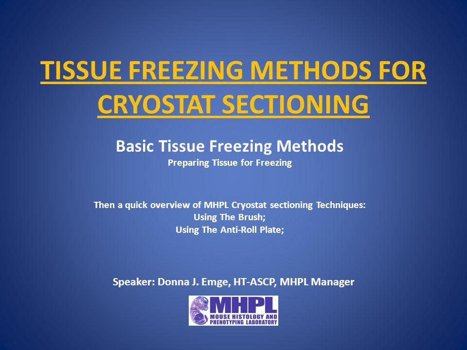 Preparing Tissue For Freezing Tissue for freezing should be frozen or fixed as promptly as possible after cessation of circulation to avoid morphological distortions and damage due to: Tissue drying artifact.