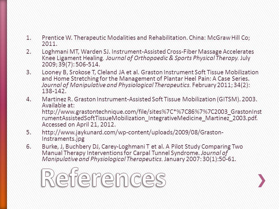 1.Prentice W. Therapeutic Modalities and Rehabilitation. China: McGraw Hill Co; 2011. 2.Loghmani MT, Warden SJ. Instrument-Assisted Cross-Fiber Massag