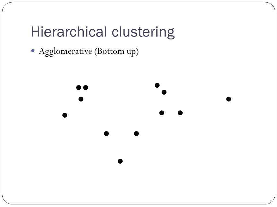 Hierarchical clustering Agglomerative (Bottom up)