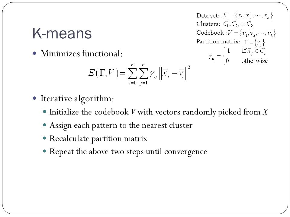 K-means Minimizes functional: Iterative algorithm: Initialize the codebook V with vectors randomly picked from X Assign each pattern to the nearest cluster Recalculate partition matrix Repeat the above two steps until convergence Data set: Clusters: Codebook : Partition matrix: