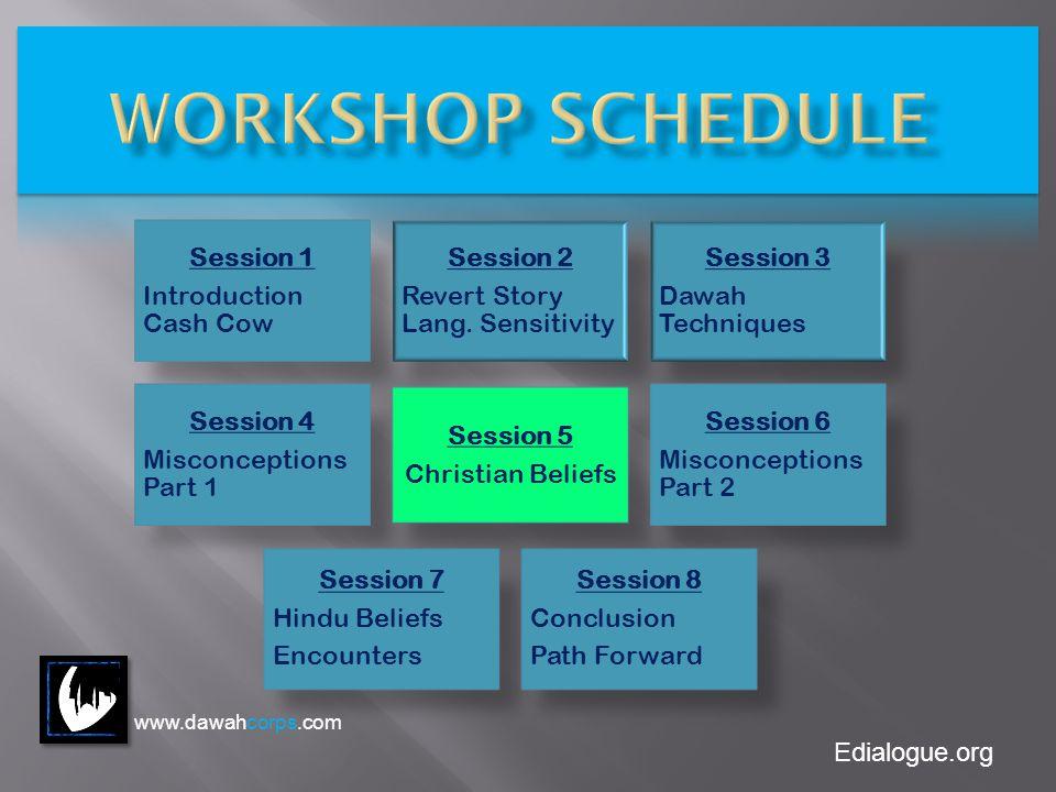 Edialogue.org Session 1 Introduction Cash Cow Session 2 Revert Story Lang. Sensitivity Session 3 Dawah Techniques Session 4 Misconceptions Part 1 Sess