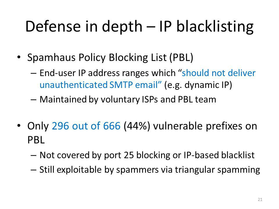 Defense in depth – IP blacklisting Spamhaus Policy Blocking List (PBL) – End-user IP address ranges which should not deliver unauthenticated SMTP emai