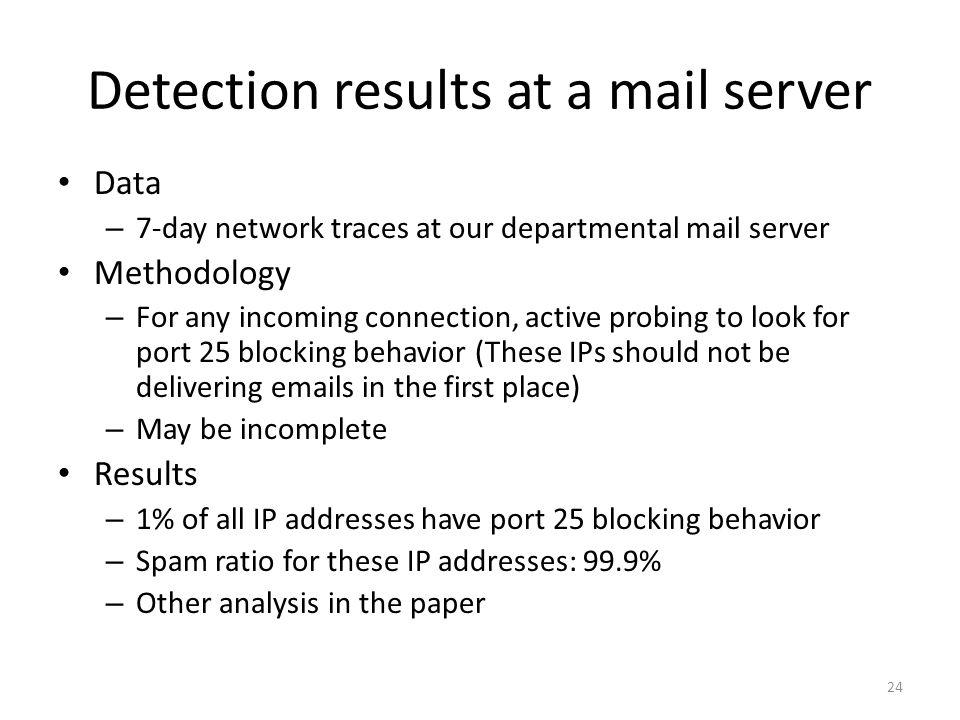 Data – 7-day network traces at our departmental mail server Methodology – For any incoming connection, active probing to look for port 25 blocking beh