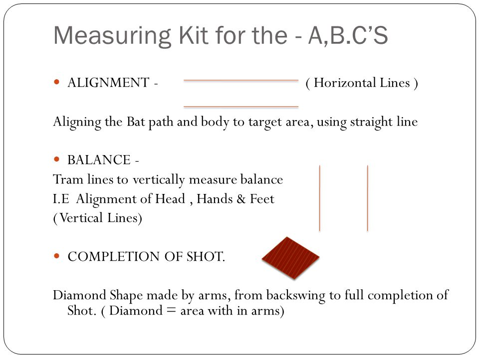 Measuring Kit for the - A,B.CS ALIGNMENT - ( Horizontal Lines ) Aligning the Bat path and body to target area, using straight line BALANCE - Tram line