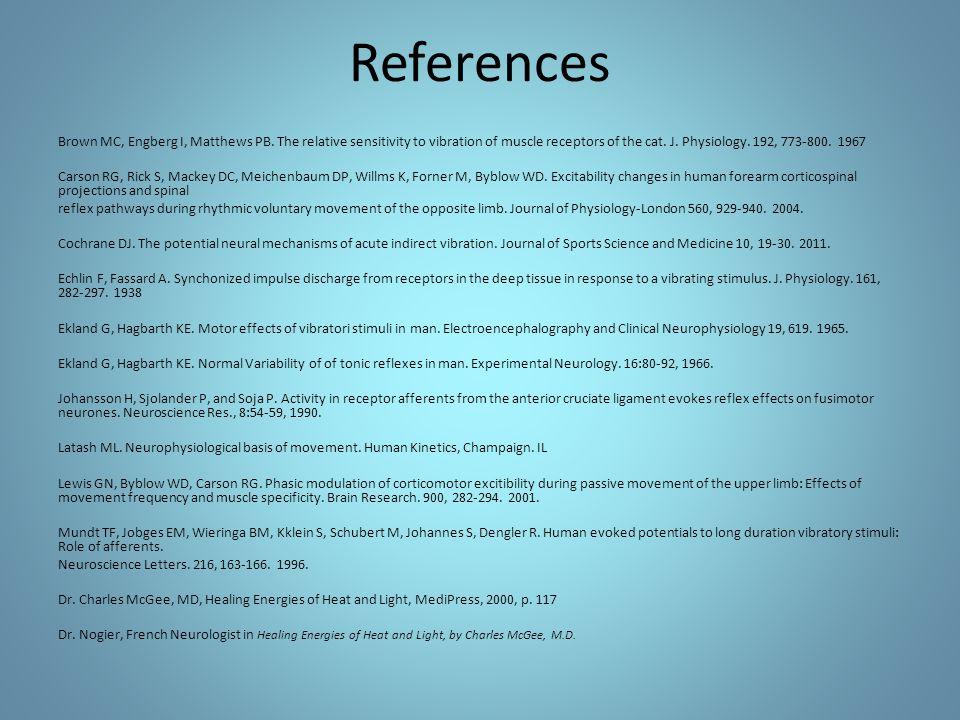 References Brown MC, Engberg I, Matthews PB.