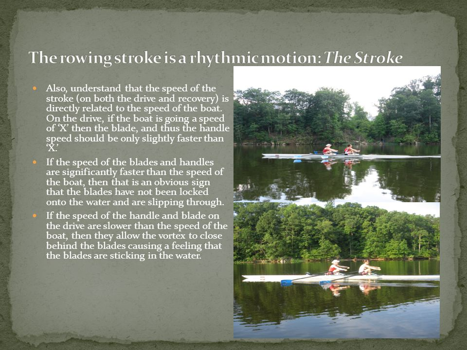 Also, understand that the speed of the stroke (on both the drive and recovery) is directly related to the speed of the boat.
