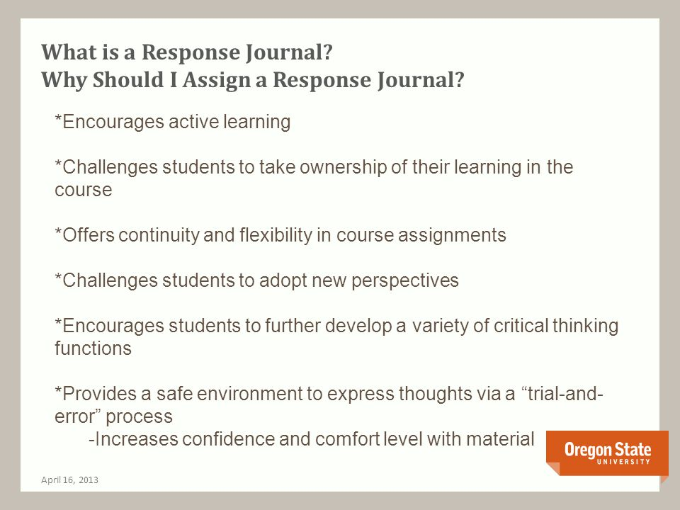 Response Journal Resources April 16, 2013