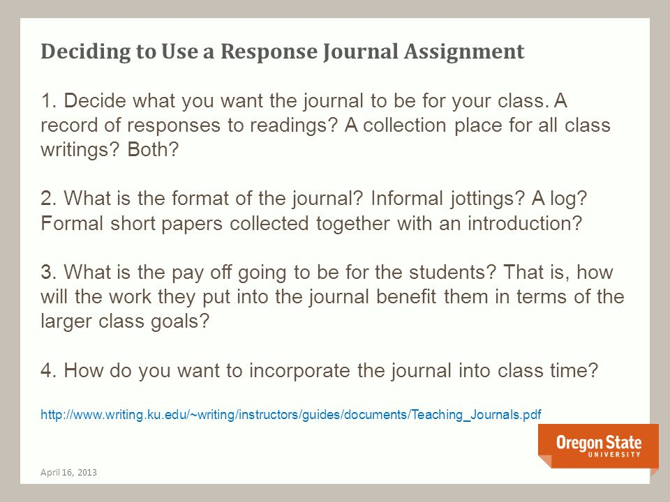 You Want Me to Do A Free-Writing Assignment!?: Student Reactions of Fear and Anxiety to Journaling April 16, 2013 Students are used to being given clear parameters and thinking inside the box.