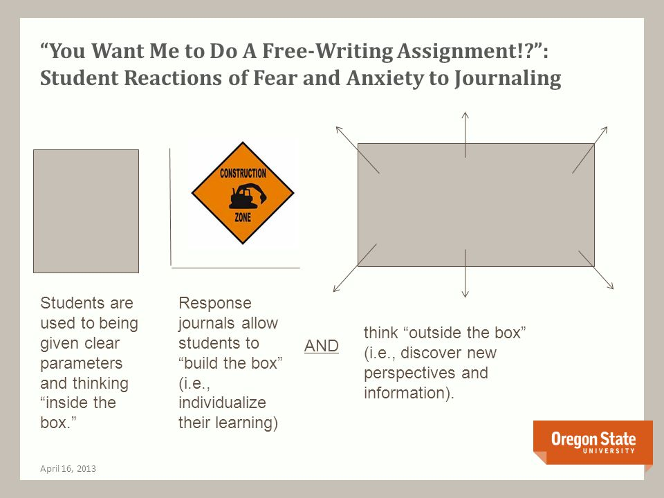 You Want Me to Do A Free-Writing Assignment?!: Getting Used to an Unstructured Assignment April 16, 2013 Developed and created by Dr.